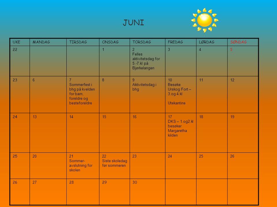 JUNI UKEMANDAGTIRSDAGONSDAGTORSDAGFREDAGLØRDAGSØNDAG 22 12 Felles aktivitetsdag for 5.-7.kl på Bjørkelangen 345 23 67 Sommerfest i bhg på kvelden for