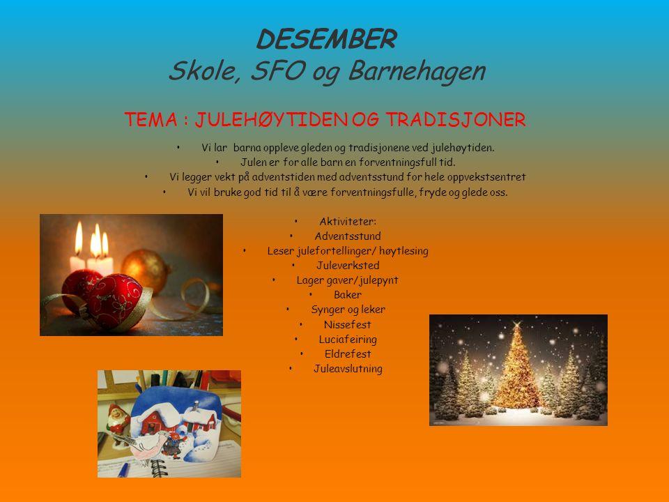 DESEMBER Skole, SFO og Barnehagen TEMA : JULEHØYTIDEN OG TRADISJONER Vi lar barna oppleve gleden og tradisjonene ved julehøytiden. Julen er for alle b