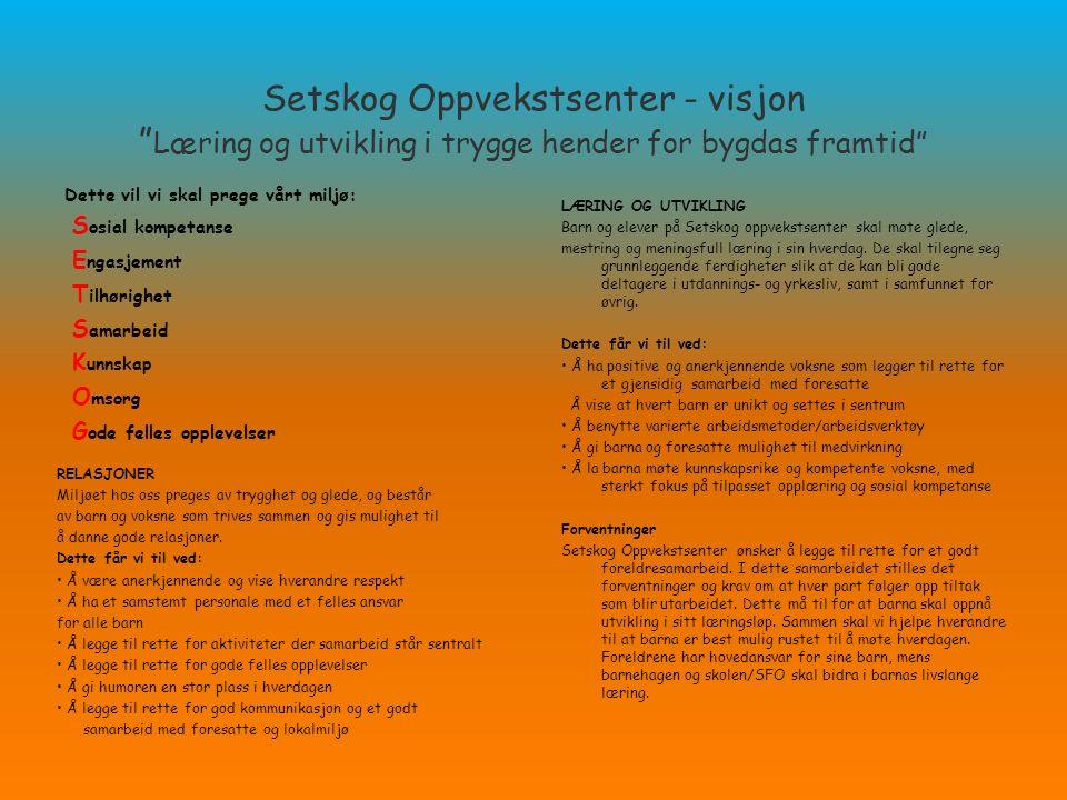 """Setskog Oppvekstsenter - visjon """" Læring og utvikling i trygge hender for bygdas framtid"""" Dette vil vi skal prege vårt miljø: S osial kompetanse E nga"""
