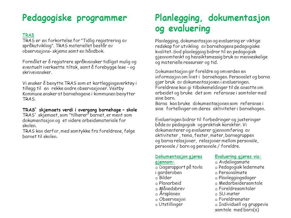 Pedagogiske programmer TRAS TRAS er en forkortelse for Tidlig registrering av språkutvikling .