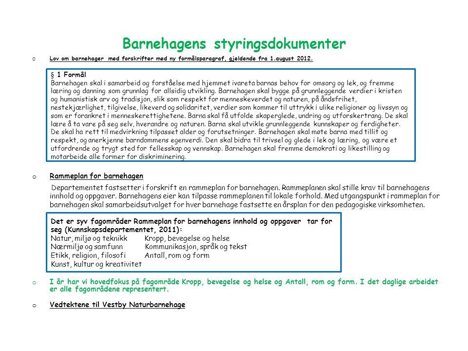 Barnehagens styringsdokumenter o Lov om barnehager med forskrifter med ny formålsparagraf, gjeldende fra 1.august 2012.