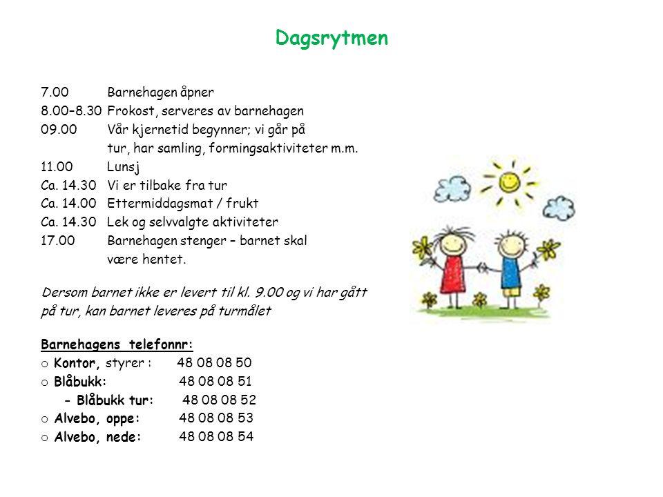 7.00 Barnehagen åpner 8.00–8.30Frokost, serveres av barnehagen 09.00Vår kjernetid begynner; vi går på tur, har samling, formingsaktiviteter m.m.
