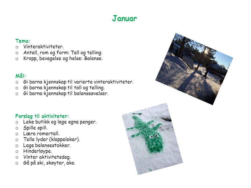 Januar Tema: o Vinteraktiviteter. o Antall, rom og form: Tall og telling.