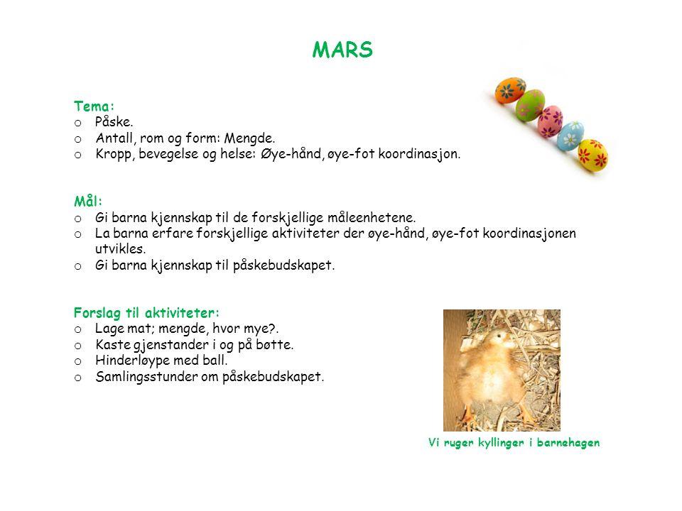 MARS Tema: o Påske. o Antall, rom og form: Mengde.