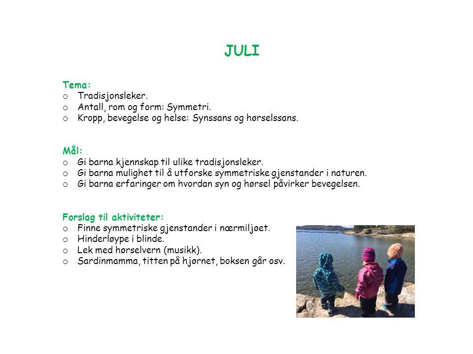 JULI Tema: o Tradisjonsleker. o Antall, rom og form: Symmetri.