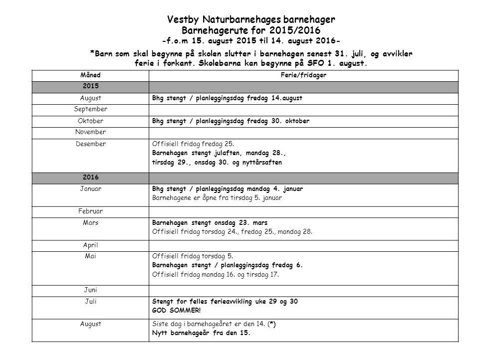 MånedFerie/fridager 2015 AugustBhg stengt / planleggingsdag fredag 14.august September OktoberBhg stengt / planleggingsdag fredag 30.