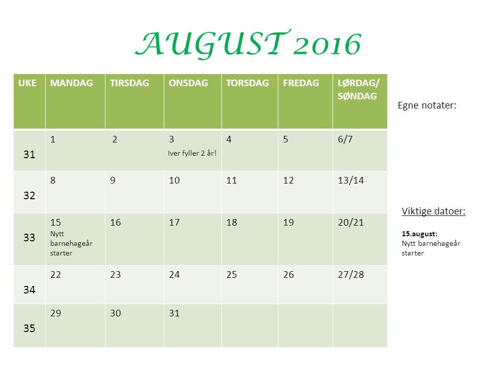 AUGUST 2016 UKEMANDAGTIRSDAGONSDAGTORSDAGFREDAGLØRDAG/ SØNDAG 31 1 2 3 Iver fyller 2 år.