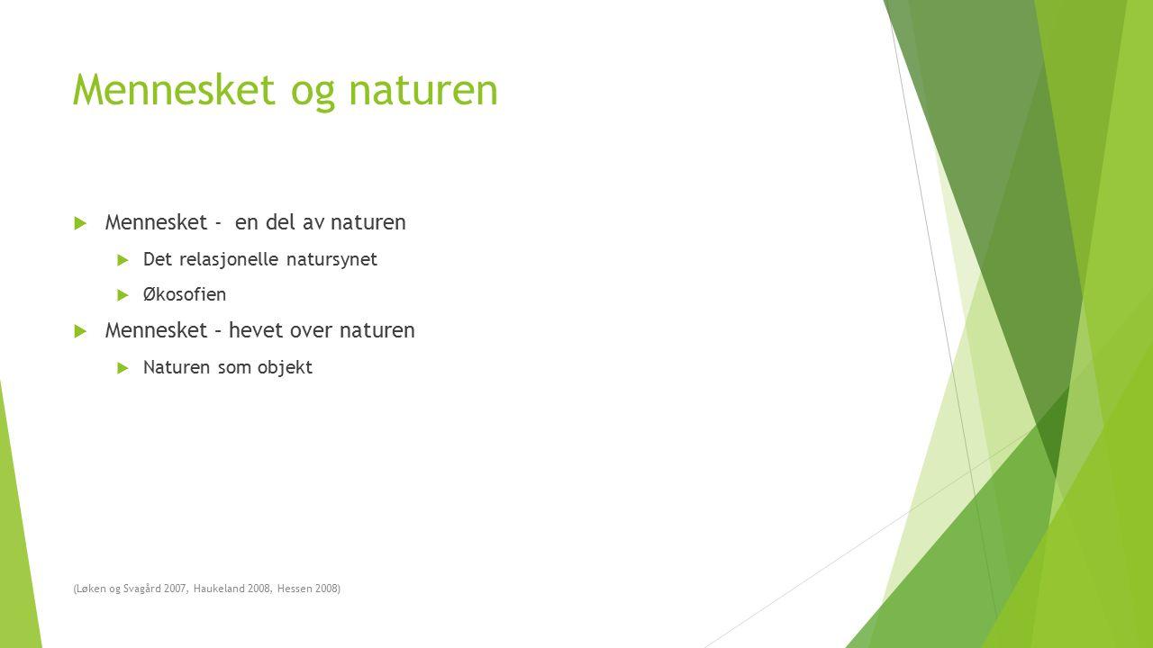 Mennesket og naturen  Mennesket - en del av naturen  Det relasjonelle natursynet  Økosofien  Mennesket – hevet over naturen  Naturen som objekt (