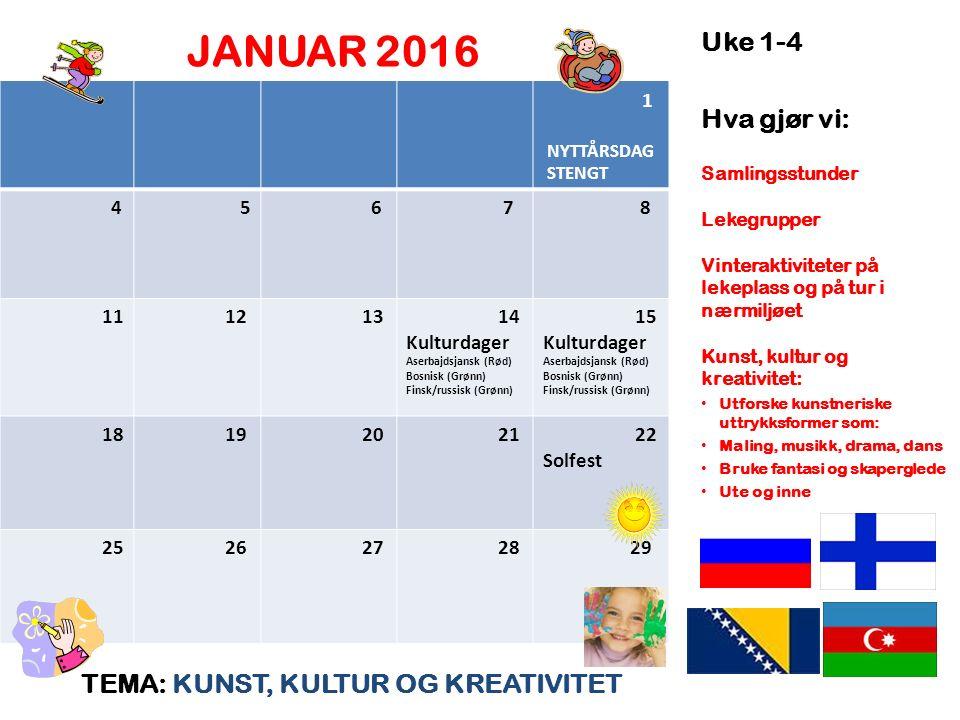JANUAR 2016 TEMA: KUNST, KULTUR OG KREATIVITET Uke 1-4 Hva gjør vi: Samlingsstunder Lekegrupper Vinteraktiviteter på lekeplass og på tur i nærmiljøet