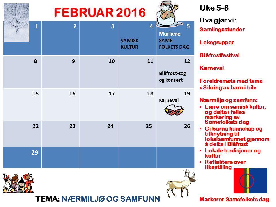 FEBRUAR 2016 TEMA: NÆRMILJØ OG SAMFUNN Uke 5-8 Hva gjør vi: Samlingsstunder Lekegrupper Blåfrostfestival Karneval Foreldremøte med tema «Sikring av ba