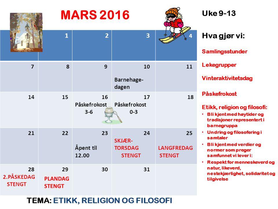 MARS 2016 TEMA: ETIKK, RELIGION OG FILOSOFI Uke 9-13 Hva gjør vi: Samlingsstunder Lekegrupper Vinteraktivitetsdag Påskefrokost Etikk, religion og filo