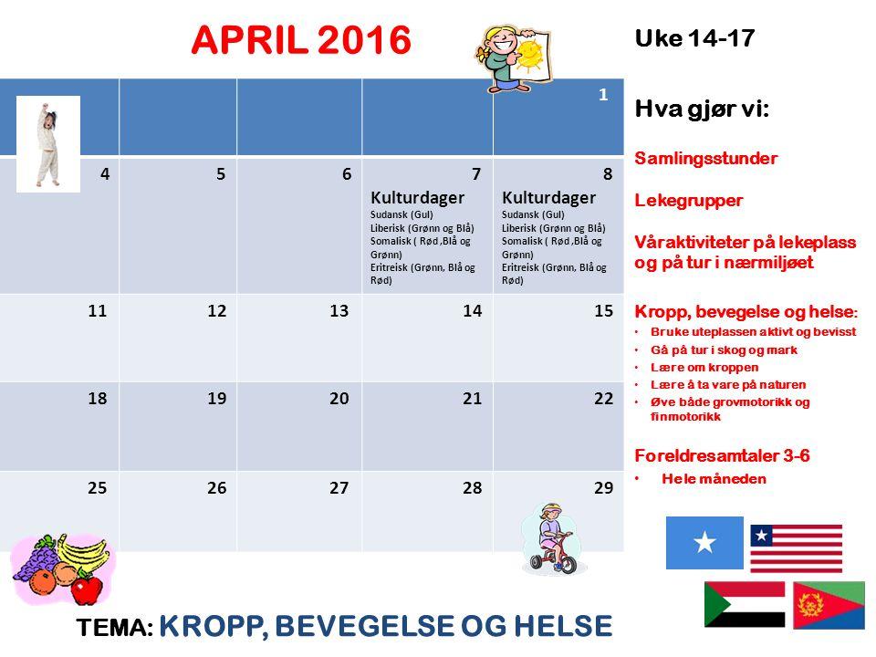 APRIL 2016 TEMA: KROPP, BEVEGELSE OG HELSE Uke 14-17 Hva gjør vi: Samlingsstunder Lekegrupper Våraktiviteter på lekeplass og på tur i nærmiljøet Kropp