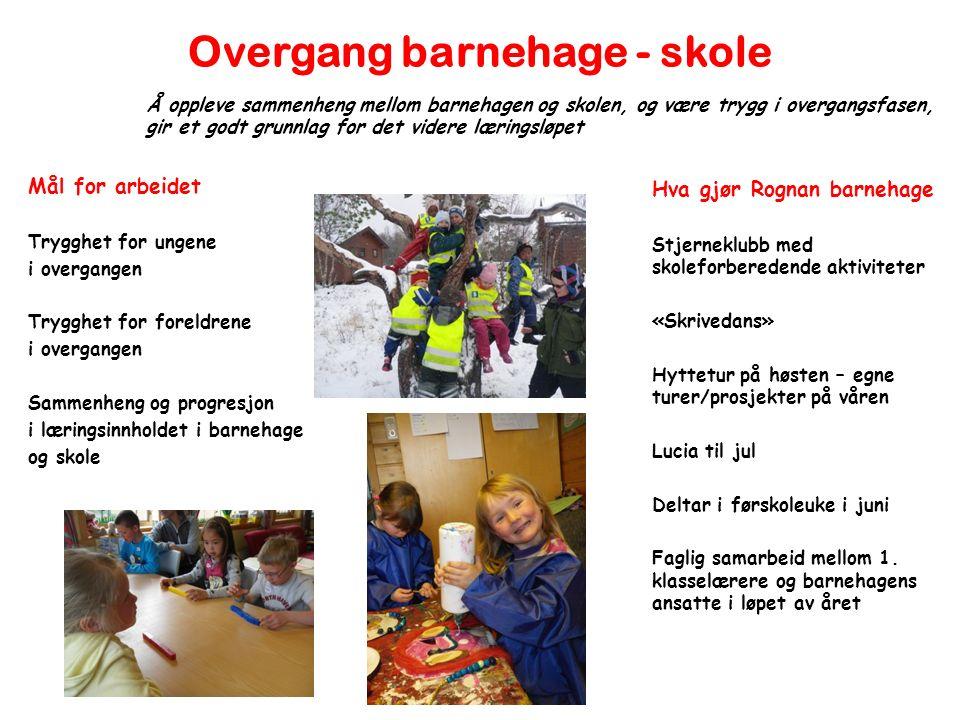 Overgang barnehage - skole Mål for arbeidet Trygghet for ungene i overgangen Trygghet for foreldrene i overgangen Sammenheng og progresjon i læringsin