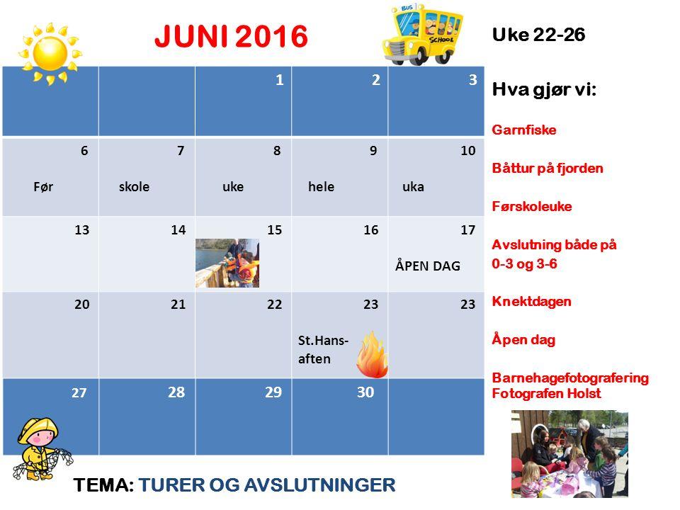 JUNI 2016 TEMA: TURER OG AVSLUTNINGER Uke 22-26 Hva gjør vi: Garnfiske Båttur på fjorden Førskoleuke Avslutning både på 0-3 og 3-6 Knektdagen Åpen dag