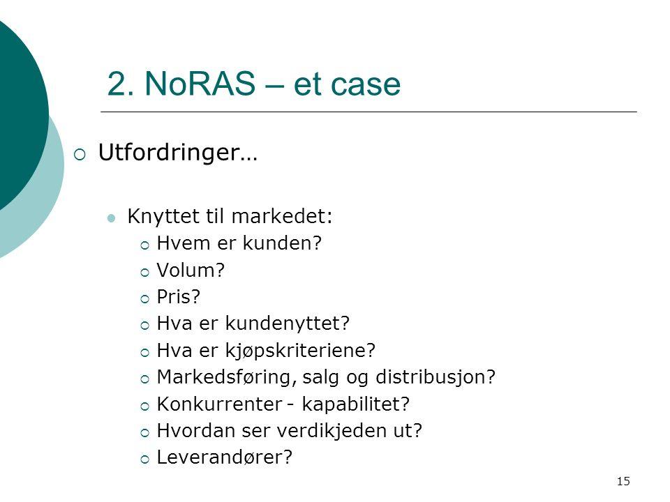 15 2. NoRAS – et case  Utfordringer… Knyttet til markedet:  Hvem er kunden?  Volum?  Pris?  Hva er kundenyttet?  Hva er kjøpskriteriene?  Marke