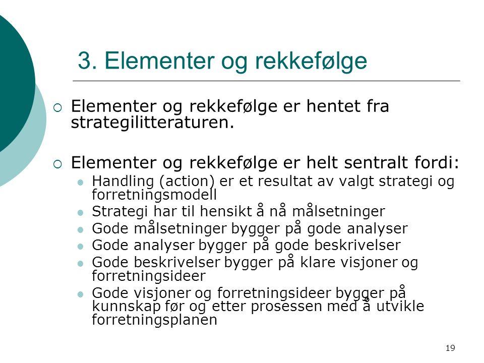 19 3. Elementer og rekkefølge  Elementer og rekkefølge er hentet fra strategilitteraturen.  Elementer og rekkefølge er helt sentralt fordi: Handling