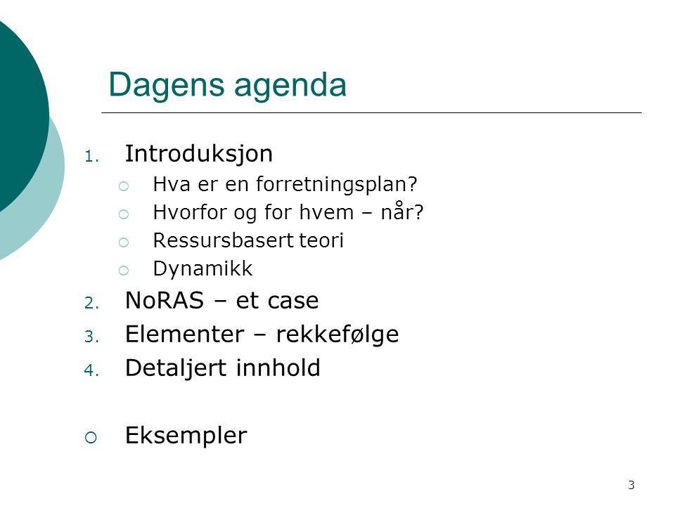3 Dagens agenda 1. Introduksjon  Hva er en forretningsplan?  Hvorfor og for hvem – når?  Ressursbasert teori  Dynamikk 2. NoRAS – et case 3. Eleme