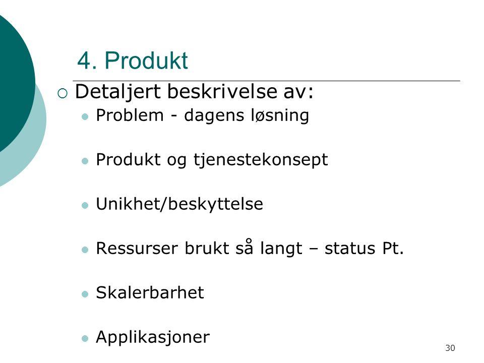 30 4. Produkt  Detaljert beskrivelse av: Problem - dagens løsning Produkt og tjenestekonsept Unikhet/beskyttelse Ressurser brukt så langt – status Pt