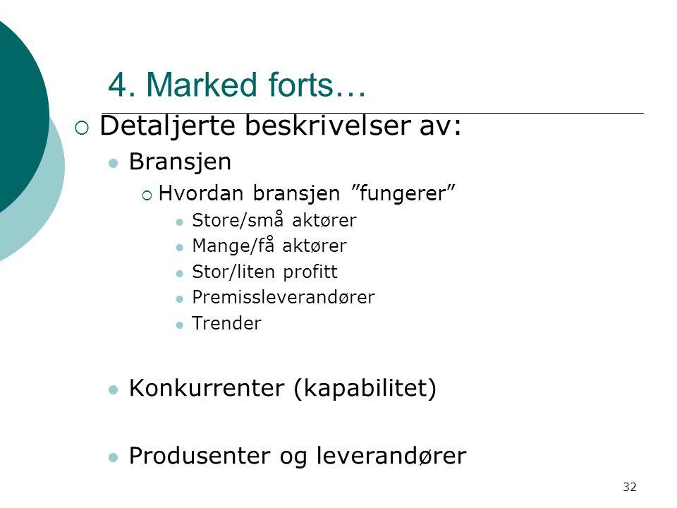 """32 4. Marked forts…  Detaljerte beskrivelser av: Bransjen  Hvordan bransjen """"fungerer"""" Store/små aktører Mange/få aktører Stor/liten profitt Premiss"""
