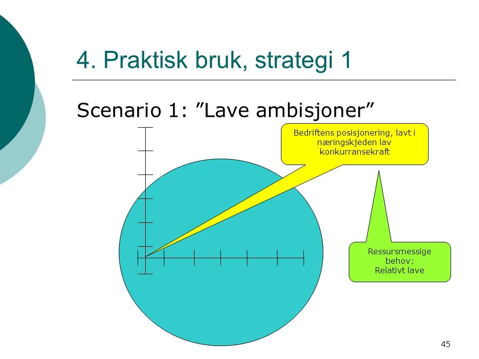 """45 4. Praktisk bruk, strategi 1 Scenario 1: """"Lave ambisjoner"""" Bedriftens posisjonering, lavt i næringskjeden lav konkurransekraft Ressursmessige behov"""