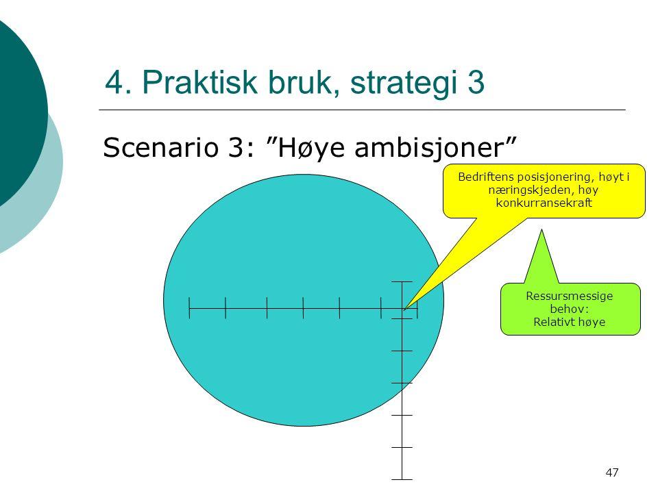 """47 4. Praktisk bruk, strategi 3 Scenario 3: """"Høye ambisjoner"""" Ressursmessige behov: Relativt høye Bedriftens posisjonering, høyt i næringskjeden, høy"""