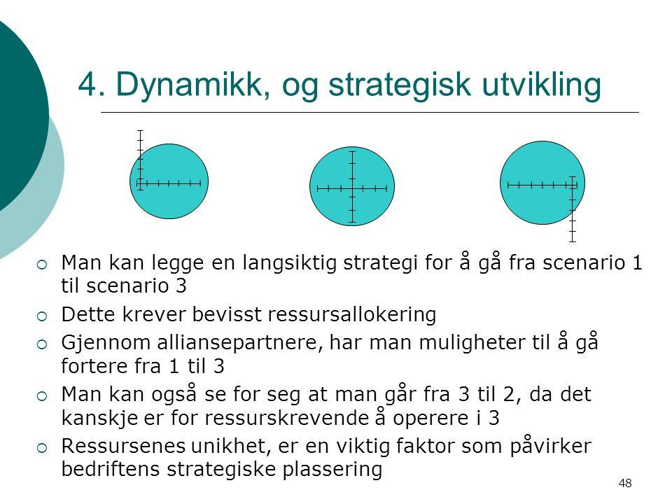 48 4. Dynamikk, og strategisk utvikling  Man kan legge en langsiktig strategi for å gå fra scenario 1 til scenario 3  Dette krever bevisst ressursal