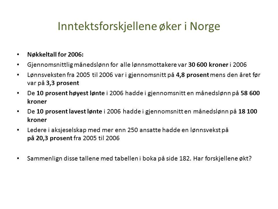 Inntektsforskjellene øker i Norge Nøkkeltall for 2006: Gjennomsnittlig månedslønn for alle lønnsmottakere var 30 600 kroner i 2006 Lønnsveksten fra 2005 til 2006 var i gjennomsnitt på 4,8 prosent mens den året før var på 3,3 prosent De 10 prosent høyest lønte i 2006 hadde i gjennomsnitt en månedslønn på 58 600 kroner De 10 prosent lavest lønte i 2006 hadde i gjennomsnitt en månedslønn på 18 100 kroner Ledere i aksjeselskap med mer enn 250 ansatte hadde en lønnsvekst på på 20,3 prosent fra 2005 til 2006 Sammenlign disse tallene med tabellen i boka på side 182.
