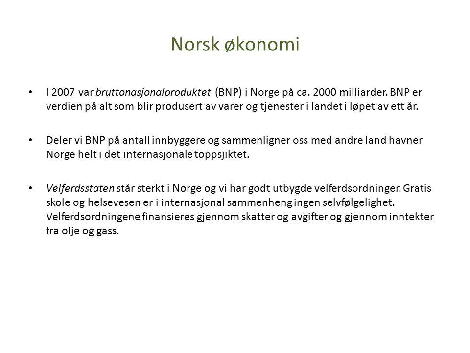 Norsk økonomi I 2007 var bruttonasjonalproduktet (BNP) i Norge på ca.