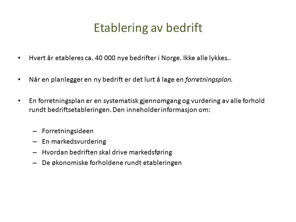 Etablering av bedrift Hvert år etableres ca. 40 000 nye bedrifter i Norge.