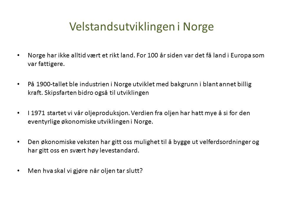 Velstandsutviklingen i Norge Norge har ikke alltid vært et rikt land.