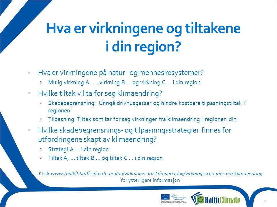 Hva er virkningene og tiltakene i din region. Hva er virkningene på natur- og menneskesystemer.