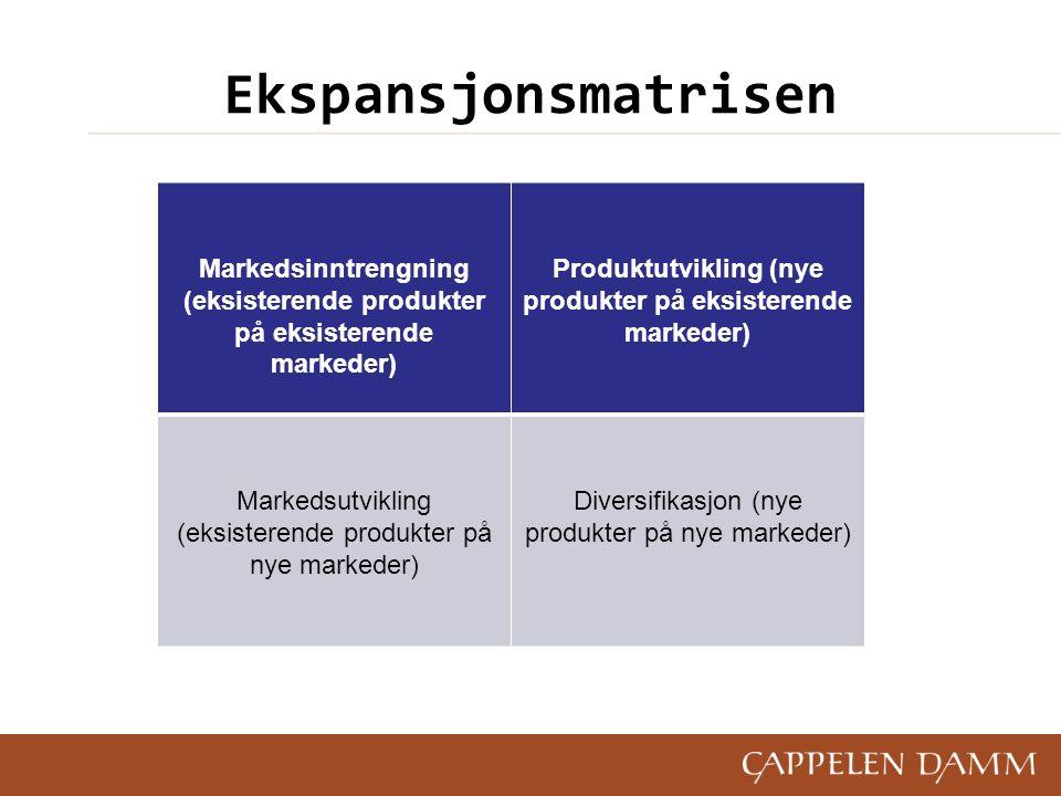 Ekspansjonsmatrisen Markedsinntrengning (eksisterende produkter på eksisterende markeder) Produktutvikling (nye produkter på eksisterende markeder) Markedsutvikling (eksisterende produkter på nye markeder) Diversifikasjon (nye produkter på nye markeder)