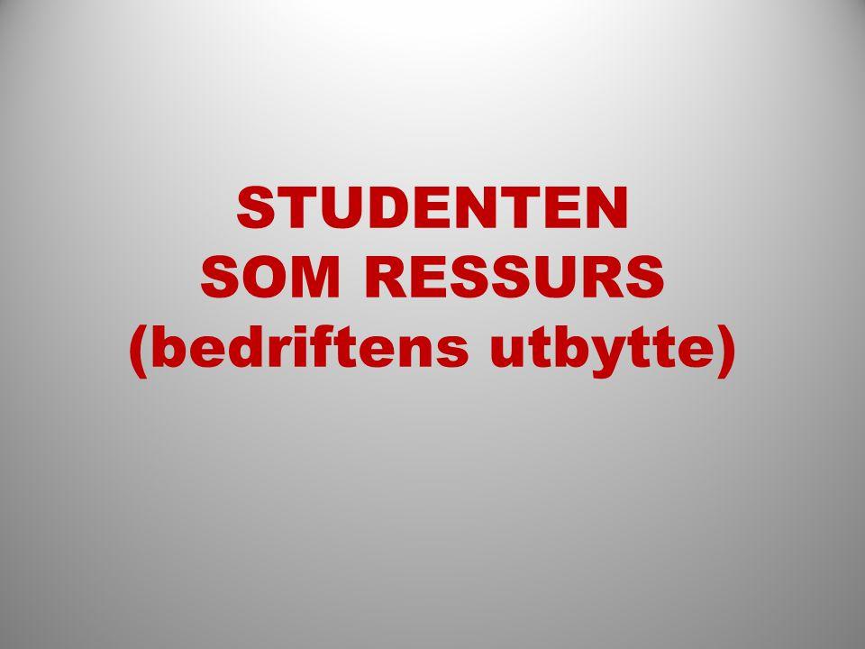 STUDENTEN SOM RESSURS (bedriftens utbytte)
