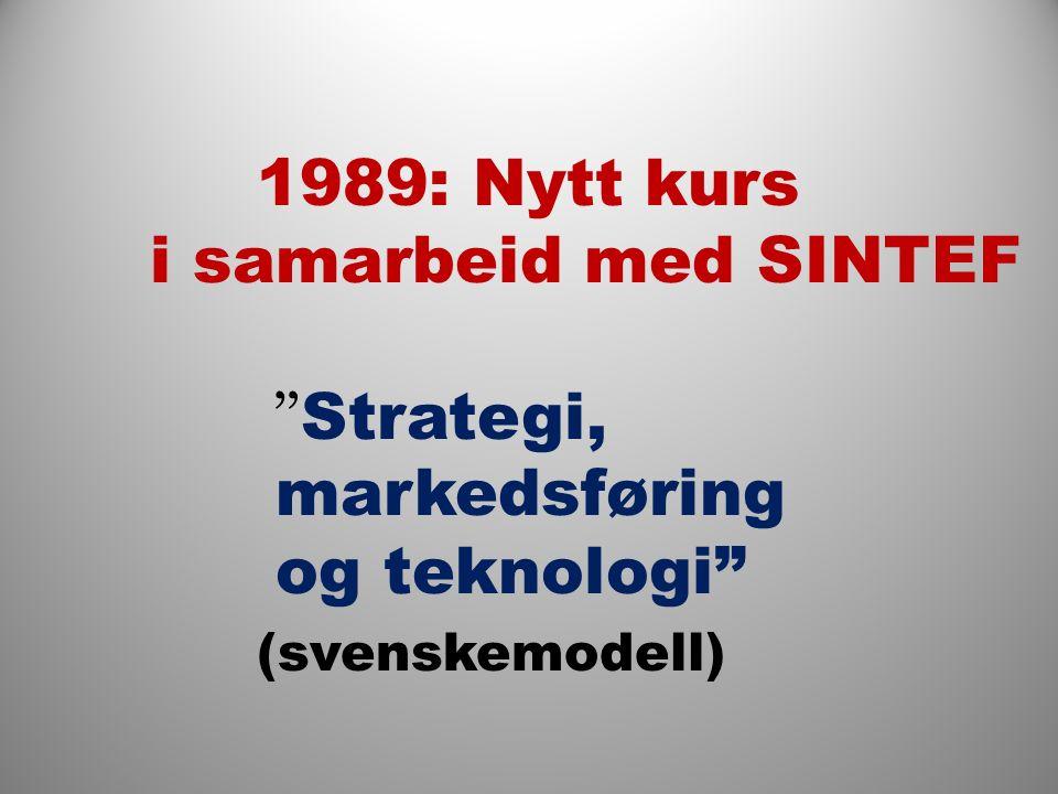 1989: Nytt kurs i samarbeid med SINTEF Strategi, markedsføring og teknologi (svenskemodell)