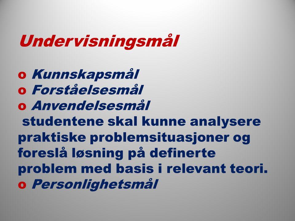  Undervisningsmål o Kunnskapsmål o Forståelsesmål o Anvendelsesmål studentene skal kunne analysere praktiske problemsituasjoner og foreslå løsning på definerte problem med basis i relevant teori.