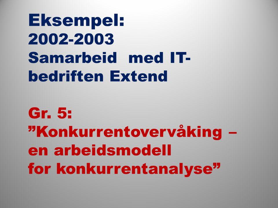 Eksempel: 2002-2003 Samarbeid med IT- bedriften Extend Gr.