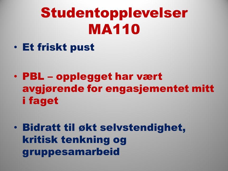 Studentopplevelser MA110 Et friskt pust PBL – opplegget har vært avgjørende for engasjementet mitt i faget Bidratt til økt selvstendighet, kritisk tenkning og gruppesamarbeid