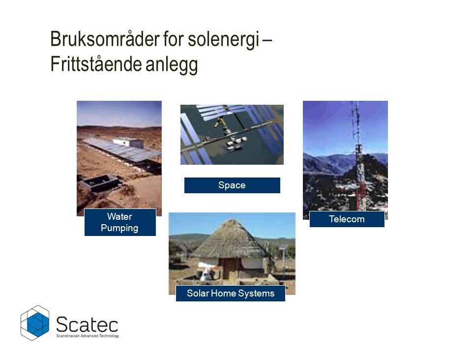 Solar Home Systems Space Water Pumping Telecom Bruksområder for solenergi – Frittstående anlegg