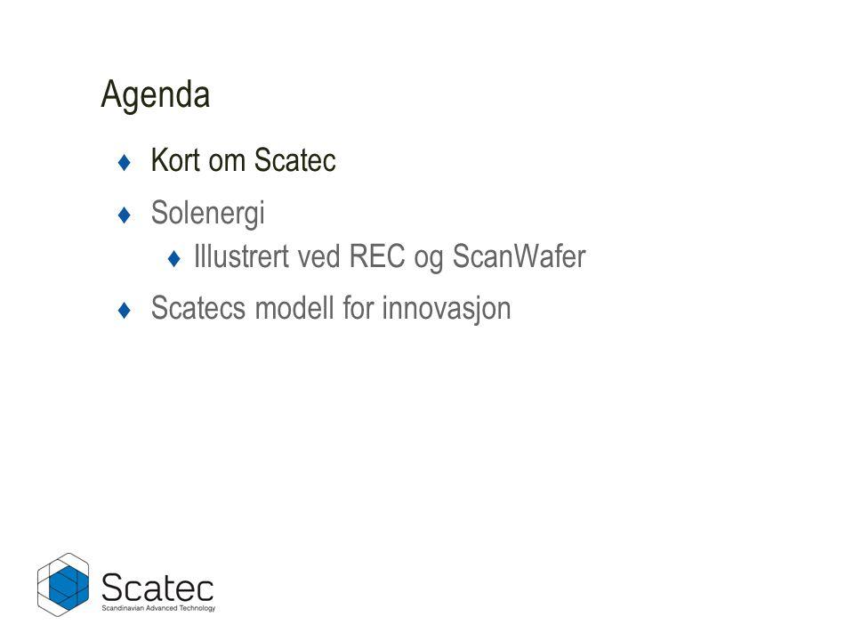 ♦ Kort om Scatec ♦ Solenergi ♦ Illustrert ved REC og ScanWafer ♦ Scatecs modell for innovasjon Agenda