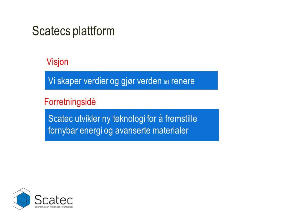 Scatecs plattform Vi skaper verdier og gjør verden litt renere Scatec utvikler ny teknologi for å fremstille fornybar energi og avanserte materialer F