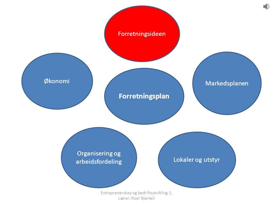 Forretningsplan Forretningsideen Markedsplanen Lokaler og utstyr Organisering og arbeidsfordeling Økonomi Entreprenørskap og bedriftsutvikling 1.