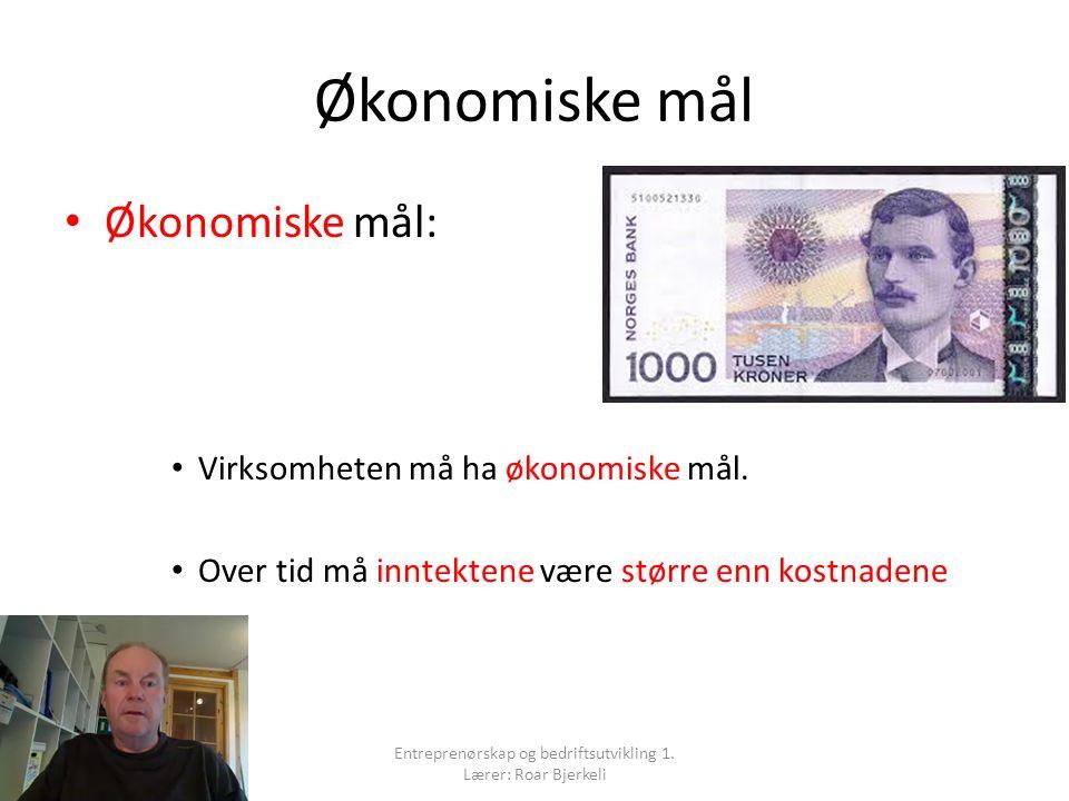 Økonomiske mål Økonomiske mål: Virksomheten må ha økonomiske mål.
