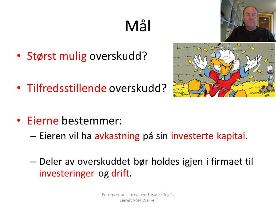 Spørsmål 1 Entreprenørskap og bedriftsutvikling 1. Lærer: Roar Bjerkeli