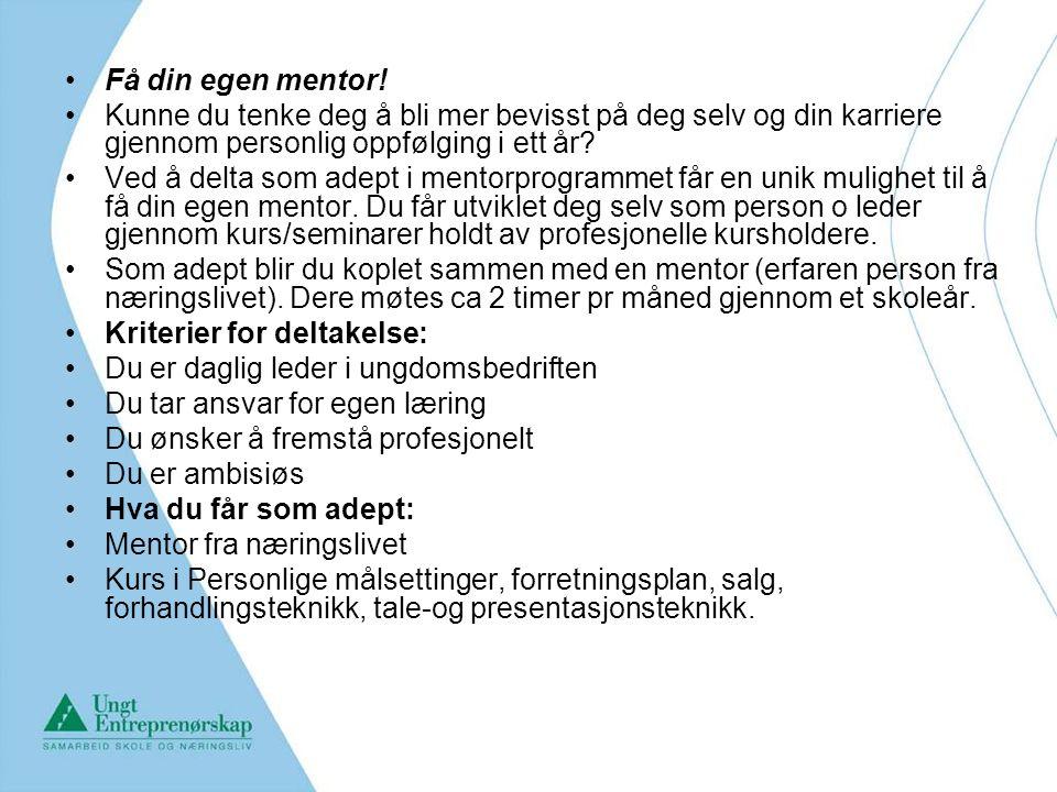 Få din egen mentor! Kunne du tenke deg å bli mer bevisst på deg selv og din karriere gjennom personlig oppfølging i ett år? Ved å delta som adept i me