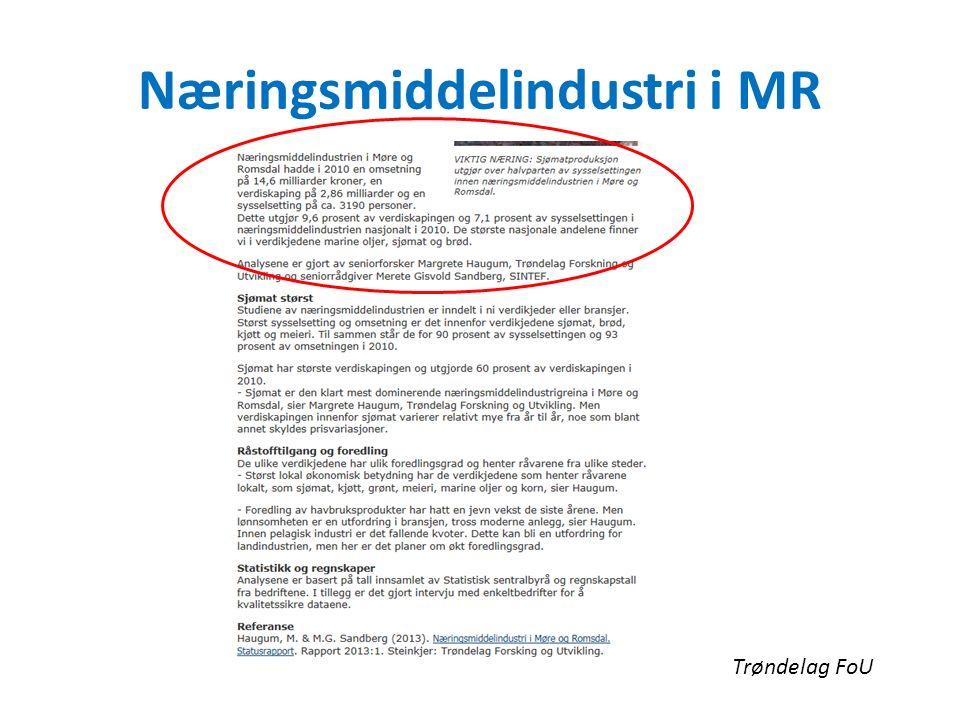 Næringsmiddelindustri i MR Trøndelag FoU