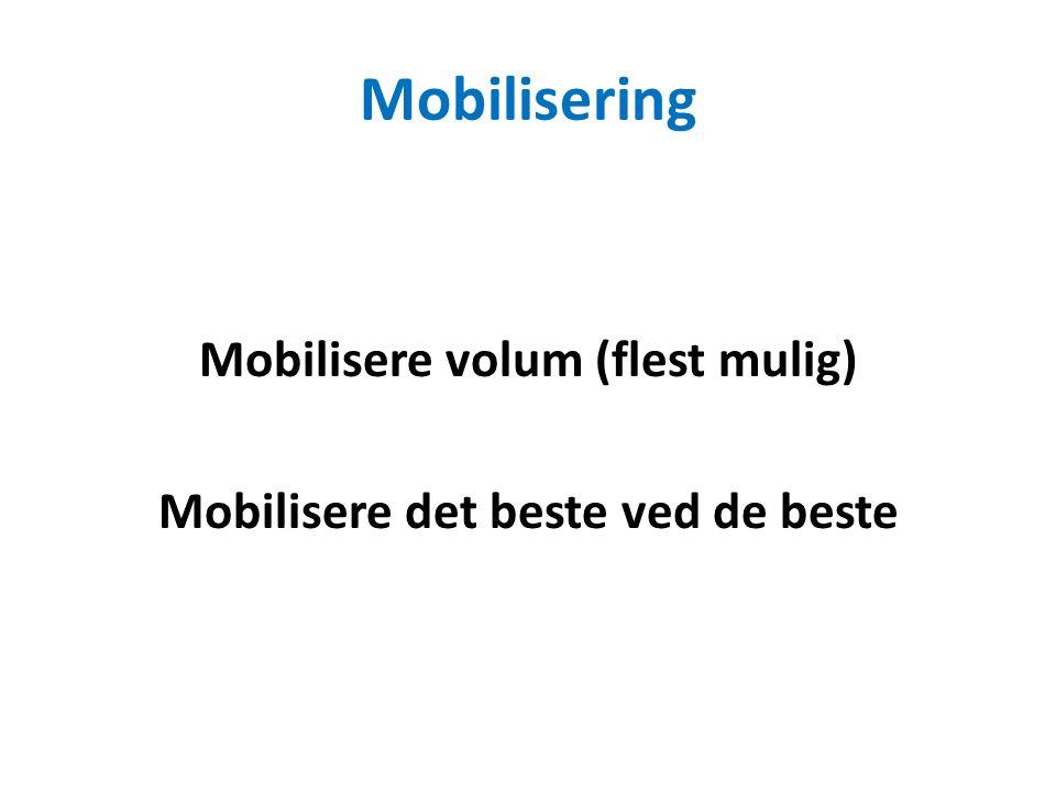 Mobilisering Mobilisere volum (flest mulig) Mobilisere det beste ved de beste