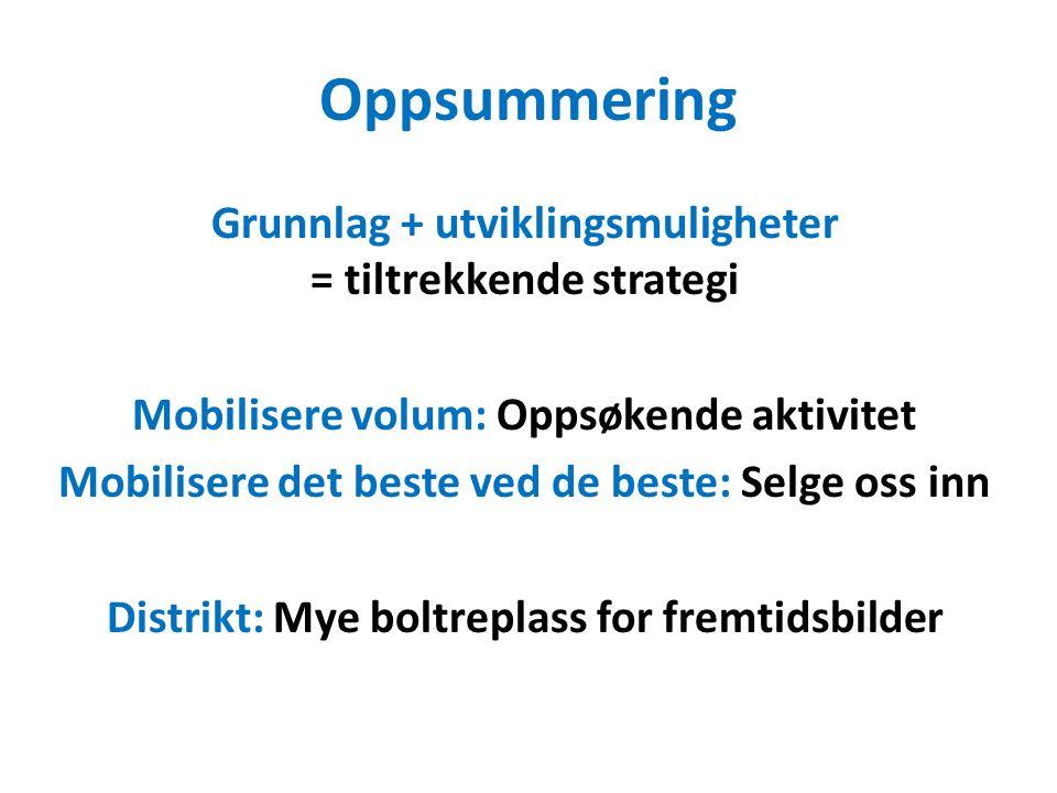 Oppsummering Grunnlag + utviklingsmuligheter = tiltrekkende strategi Mobilisere volum: Oppsøkende aktivitet Mobilisere det beste ved de beste: Selge o