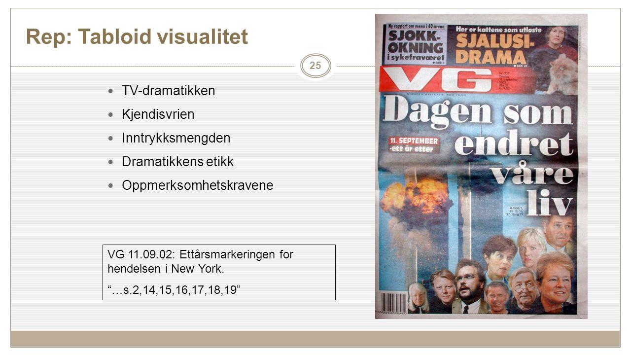 Rep: Tabloid visualitet 25 TV-dramatikken Kjendisvrien Inntrykksmengden Dramatikkens etikk Oppmerksomhetskravene VG 11.09.02: Ettårsmarkeringen for hendelsen i New York.