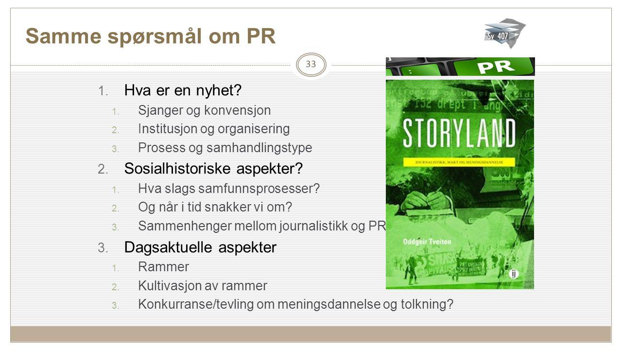 Samme spørsmål om PR 1.Hva er en nyhet. 1. Sjanger og konvensjon 2.