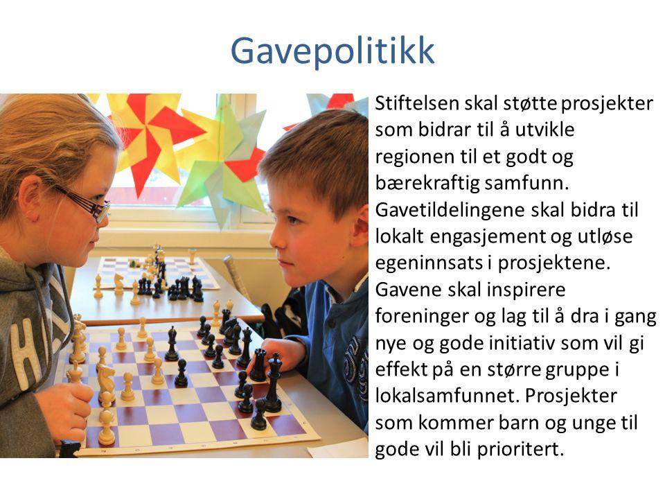 Gavepolitikk Stiftelsen skal støtte prosjekter som bidrar til å utvikle regionen til et godt og bærekraftig samfunn.